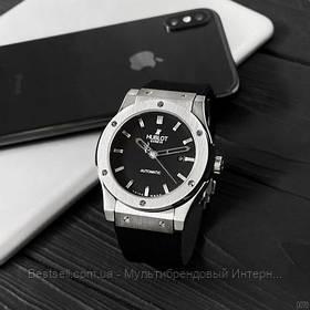 Часы мужские наручные механические  Hublot 5826 Classic Fusion Black-Silver / реплика ААА класса / скелетон
