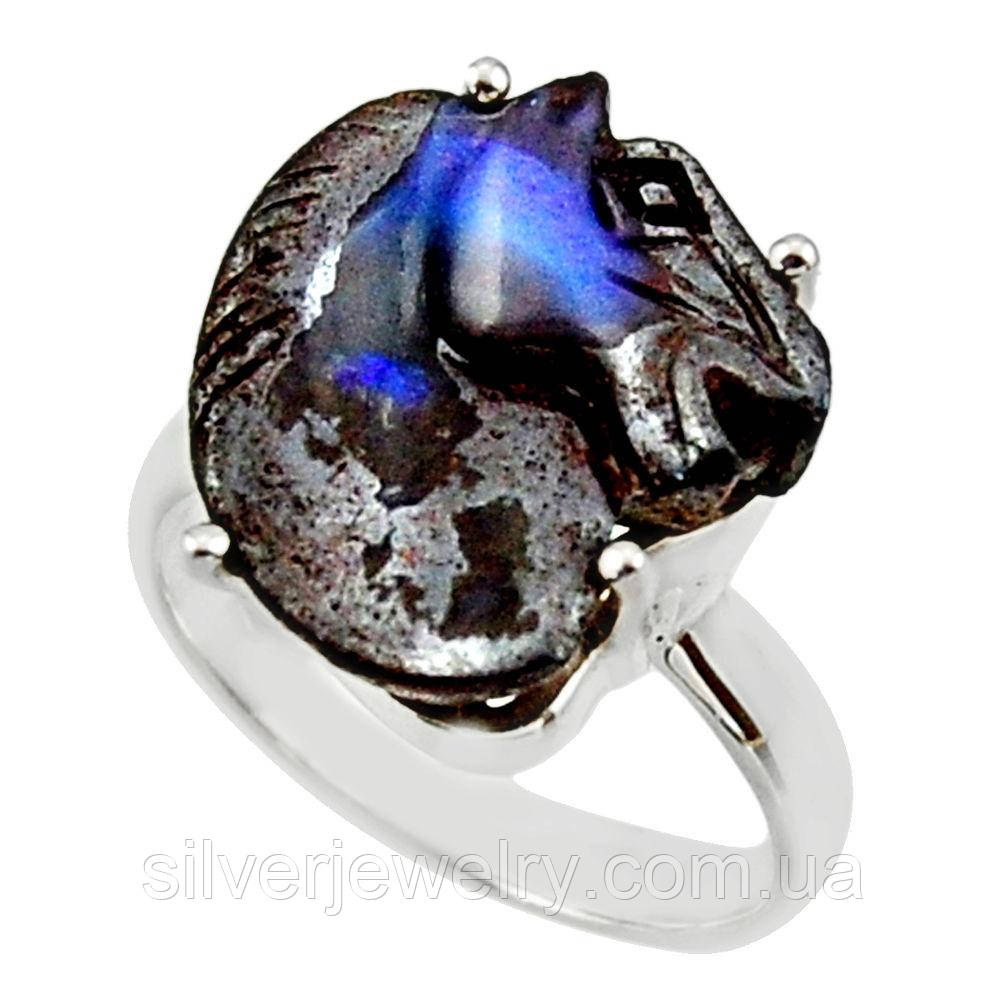 Серебряное кольцо с болдер ОПАЛОМ  (натуральный!!!), серебро 925 пр. Размер 18,25