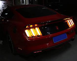 Фонари Ford Mustang (15-19) тюнинг Led оптика (желтый поворот)