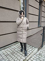 Зимняя теплая длинная (ВИДЕО ОБЗОР)  куртка пальто пуховик оверсайз одеяло с капюшоном плащевка + силикон, фото 1