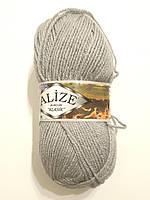 Пряжа акриловая Alize Burcum Klasik 100% акрил 100 гр, 210 м, серый 253