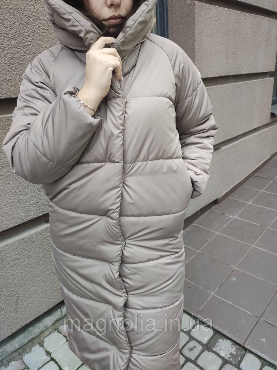 Зимняя теплая длинная (ВИДЕО ОБЗОР)  куртка пальто пуховик оверсайз одеяло с капюшоном плащевка + силикон