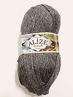 Пряжа акриловая Alize Burcum Klasik 100% акрил 100 гр, 210 м, серый темный меланж Турция