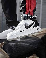 Кроссовки мужские Nike Air Force 1 MID '07 LV8 в стиле Найк Форсы БЕЛЫЕ (Реплика ААА+)