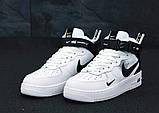 Кросівки жіночі Nike Air Force 1 MID '07 LV8 в стилі найк форси білі (Репліка ААА+), фото 3