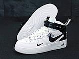 Кросівки жіночі Nike Air Force 1 MID '07 LV8 в стилі найк форси білі (Репліка ААА+), фото 4