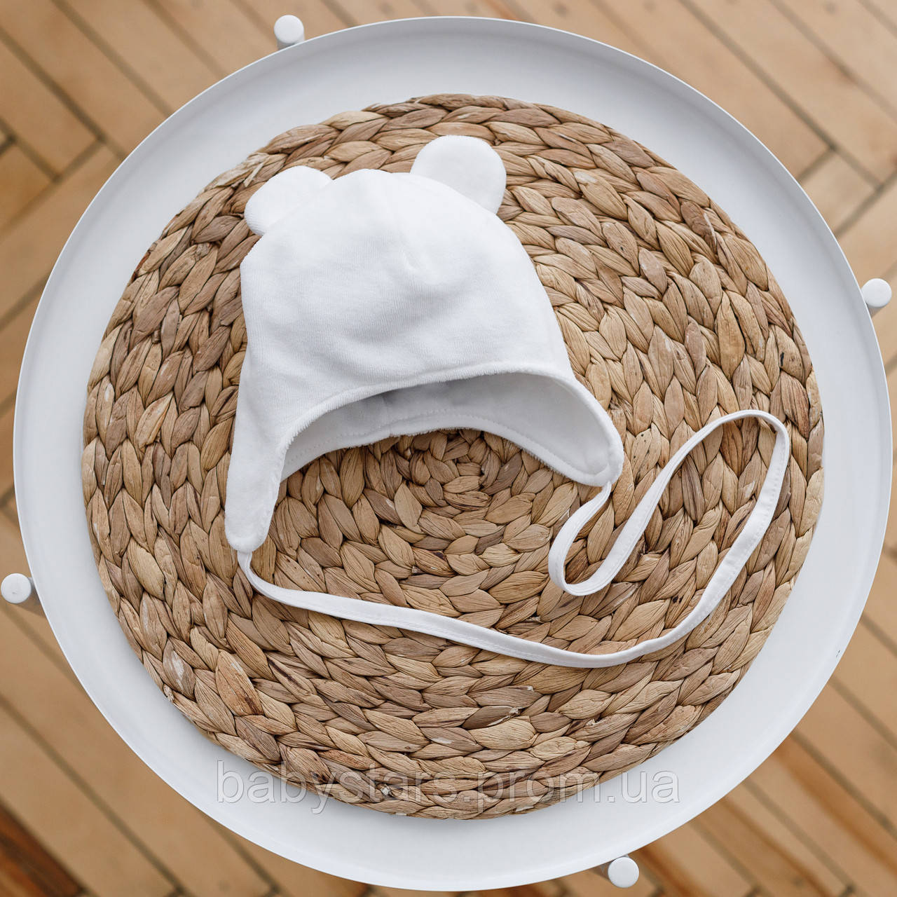 """Шапочка из велюра с флисовой подкладкой для малыша """"Tessera"""", молочного цвета. Размеры: 0-3; 3-6; 6-12 месяцев"""