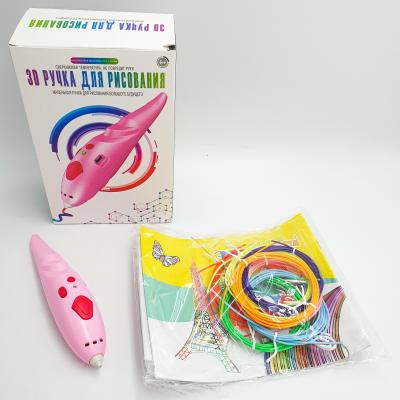 3D ручка аккумуляторная с био пластиком для 3Д рисования и трафаретом K9902 розовый
