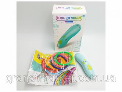 3D ручка акумуляторна з біо пластиком для 3Д малювання трафаретом K9901 зелений