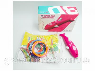 3D ручка аккумуляторная с био пластиком для 3Д рисования и трафаретом K9903 малиновый