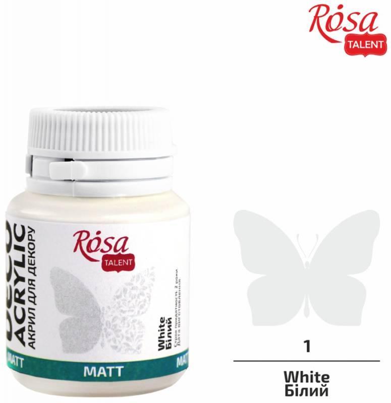 Акрил для декора, Белый матовый, 20 мл, ROSA TALENT