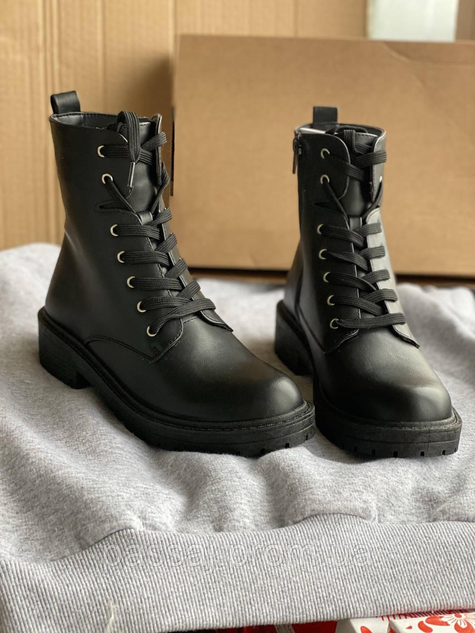 Черные ботинки деми из эко кожи madden girl от steve madden