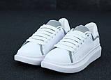Женские кроссовки Alexander McQueen в стиле александр маккуин белые Рефлектив (Реплика ААА+), фото 5
