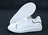 Женские кроссовки Alexander McQueen в стиле александр маккуин белые Рефлектив (Реплика ААА+), фото 6