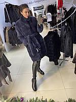 Жіноча XL норкова шуба фінська норка кольору ірис