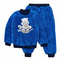 Пижама детская махровая синяя Мишка на 4 - 8 лет