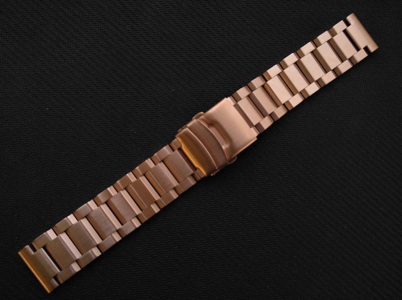 Браслет для часов из нержавеющей стали, литой, матовый. Цвет - розовое золото. 20 мм. Hexad