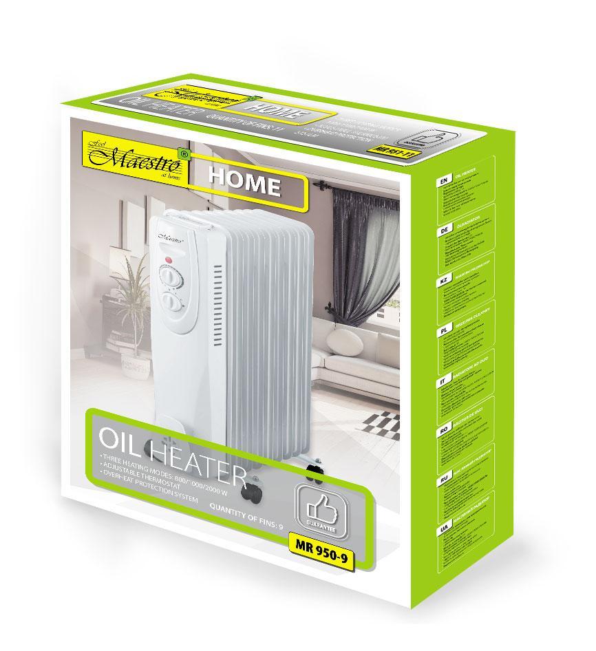 Масляный радиатор Maestro MR-950-9   гарантийный обогреватель для дома   батарея  