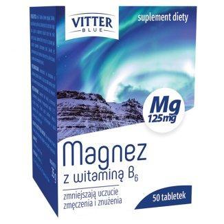 Магний В6 магне В6, Vitter Blue Magnesium с витамином B6, 50 таблеток, укрепление нервов Польша