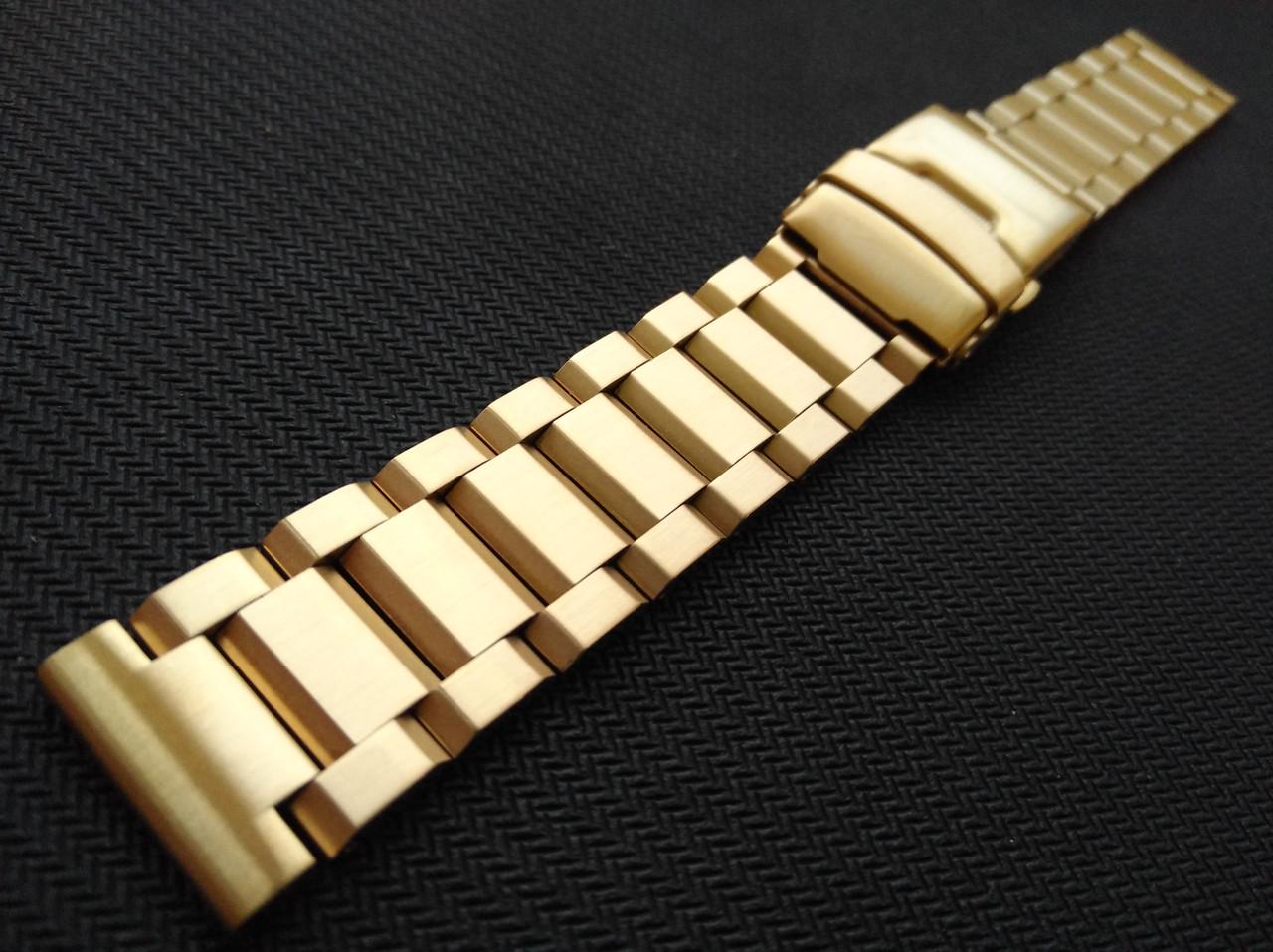 Браслет для часов из нержавеющей стали, литой, матовый. Золотистый. 20 мм. Hexad