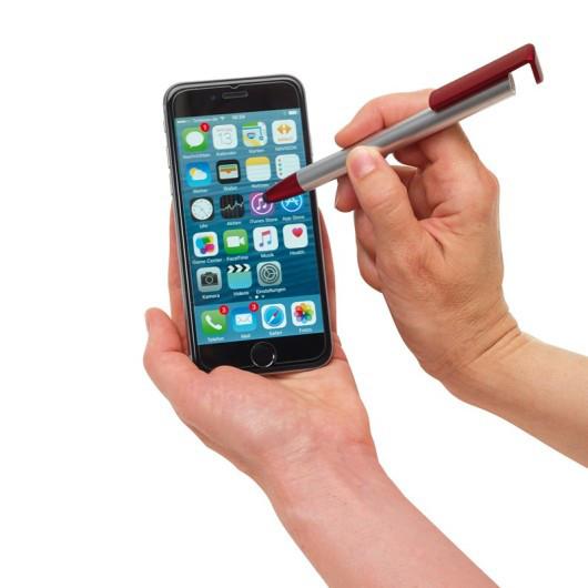 Ручка шариковая NEVADA с клипом - подставкой для смартфона и встроенным стилусом
