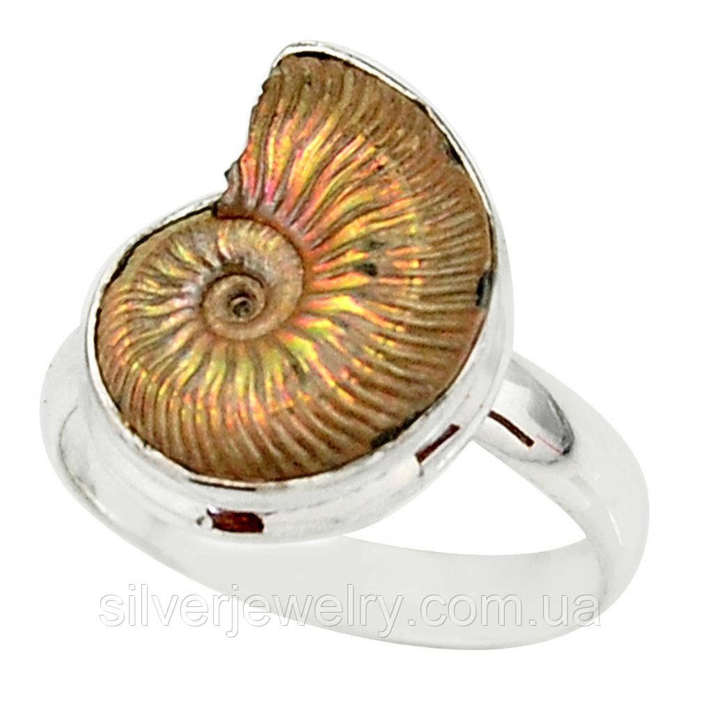 Серебряное кольцо с АММОНИТОМ (натуральный), серебро 925 пр. Размер 18