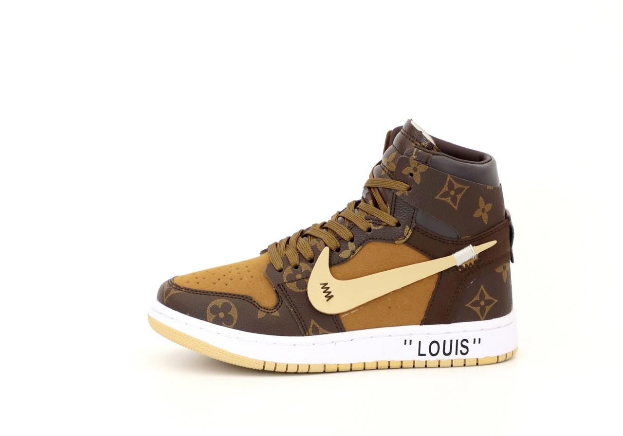 Кроссовки мужские Nike Jordan Retro 1 Louis Vuitton в стиле найк джордан (Реплика ААА+)