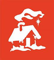 """Трафарет """"Рождественский дом"""" №25 9*10(код 04471)"""
