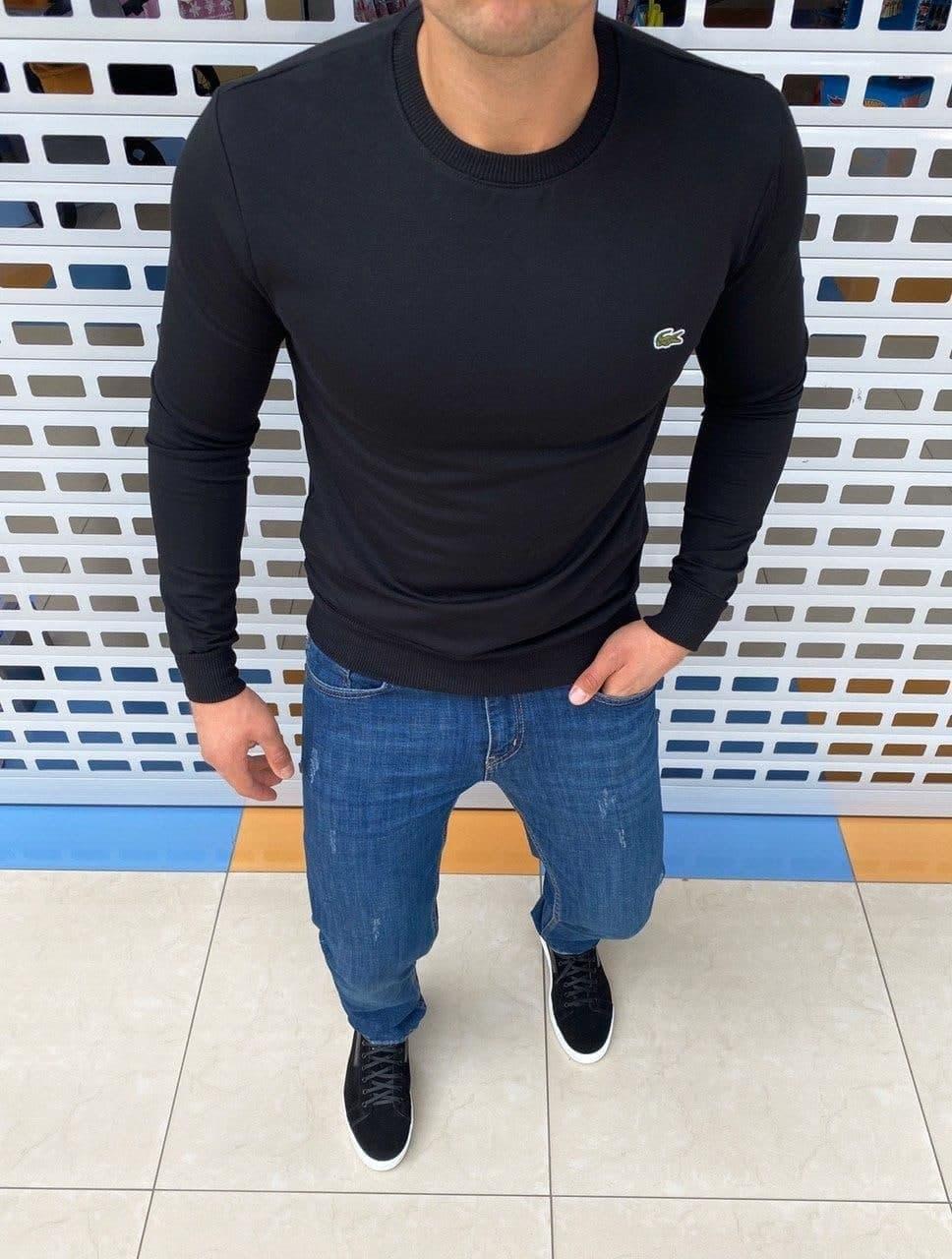 Мужская кофта свитшот Lacoste H1166 черная