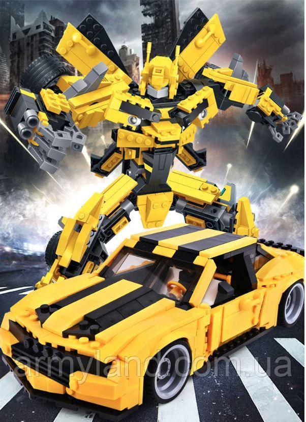 Желтый трансформер Бамблби и машинка (2в1) конструктор Аналог Лего