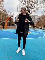 Мужская зимняя куртка парка черная удлиненная с мехом повседневная теплая до - 30