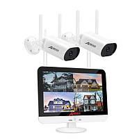 Беспроводной комплект видеонаблюдения WiFi на 2 камеры Anran c LCD монитором, 3 Мп