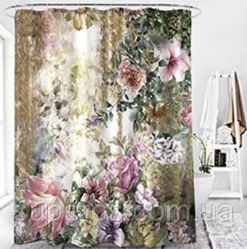 Тканевая шторка для ванной и душа 180х200 см Роза