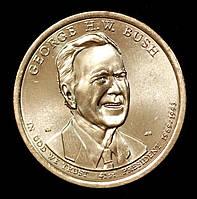 Монета США 1 доллар 2020 г. 41-й президент Джордж Буш-старший, фото 1