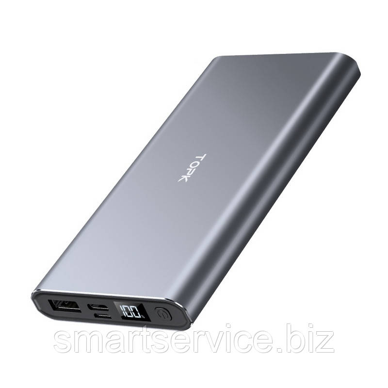 Повербанк Topk УМБ Power Bank 1xUSB 10000 mAh серый microUSB, USB Type-C, USB