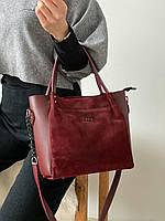 Красная женская сумка из эко-кожи+натуральная замша (4цв.)