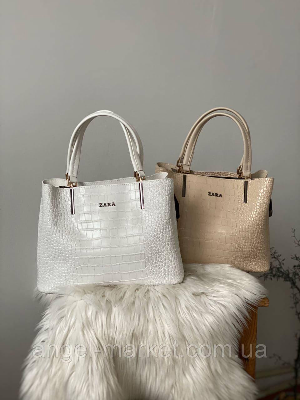 Белая женская сумка из эко-кожи с тиснением под крокодила (4цв.)