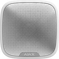 Ajax StreetSiren Вулична сирена сповіщає про небезпеку за допомогою звуку і світлової індикації, біла