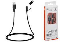Кабель 2E USB to Micro + Type C, 5V/2.4 A, 1m, Black