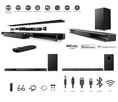 Звукова панель TCL TS9030 RAY-DANZ, 3.1, 540W, Dolby Atmos, HDMI eARC, WiFi, Wireless Sub