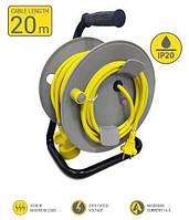 Мережевий подовжувач 2Е 1XCEE7/17 на котушці., ІР20, 2G*1.0 мм, 20м, сіро-жовтий