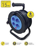 Мережевий подовжувач 2Е 4XCEE7/17 на котушці, ІР20, 2G*1.5 мм, 15м, чорний