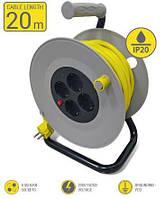 Мережевий подовжувач 2Е 4XSchuko на котушці, з заземл., ІР20, 3G*1.5 мм, 20м, сіро-жовтий