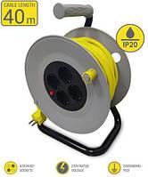 Мережевий подовжувач 2Е 4XSchuko на котушці, з заземл., ІР20, 3G*1.5 мм, 40м, сіро-жовтий