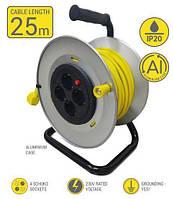 Мережевий подовжувач 2Е 4XSchuko на котушці, з заземл., ІР20, метал., 3G*1.5 мм, 25м, сіро-жовтий