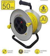 Мережевий подовжувач 2Е 4XSchuko на котушці, з заземл., ІР20, метал.,3G*1.5 мм, 50м, сіро-жовтий