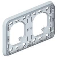 Plexo Legrand Супорт з рамкою для вбудованого монтажу - сірий - 2 пости - горизонтальна установка