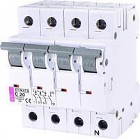 Автоматичний вимикач ETI ETIMAT 6 3p + N C 20А (6 kA)