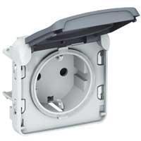 Механізм розетки електричної Plexo Legrand 16А, Schuko, 250В, ІР55, ІК07 з кришкою, гвинтові зажими сірий