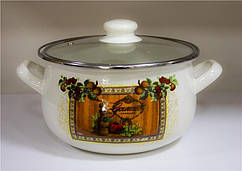 Кастрюля Ardesto Italian Gourmet, скляна кришка, 1.5 л, айворі, емальована